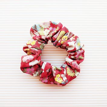 Fabric Scrunchie - Cherry Blossoms and Moon Bunnies in Red
