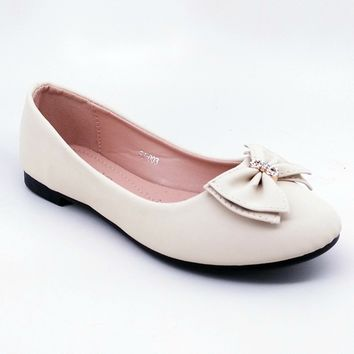Women's Beige Flats with Bow Detail