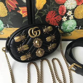 HCXX 19Aug 905 Gucci 491294 Italy Marmont Metal Animal Chain Canteen Bag Shoulder Strap Crossbody Bag 23-14.5-5cm