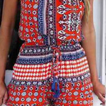 Printed Cut-Out Romper