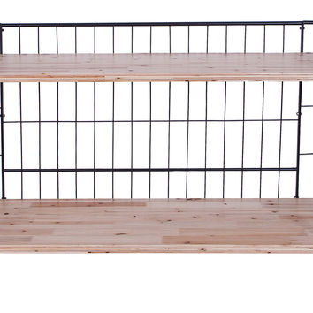 2-Tier Metal & Wood Shelf w/ Casters, Bookcases & Bookshelves