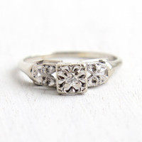 Vintage 14k White Gold Diamond Ring - 1940s Size 8 1/4 Engagement Brilliant Diamond Wedding Illusion Head Fine Jewelry