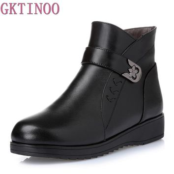 Women Boots 2018 Fashion Shoes Woman Genuine Leather Wedges Ankle Boots Winter Warm Wool Snow Boots Women's Shoes