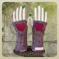 Crochet Arm Warmers with Heart~Ready to ship~FREE SHIPPING