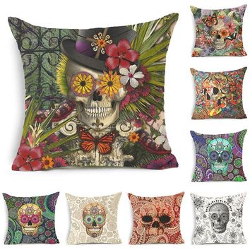 Varicolored Skull Printed Cotton Linen Pillowcase Decorative Cushion Pillows Use For Home Sofa Car Office Almofadas Cojines