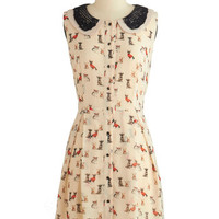 ModCloth Critters Mid-length Sleeveless A-line Paws and Poise Dress