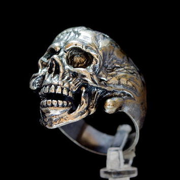 Ring Skull Sterling Silver Custom Designed Stunning Large 30 Gram Open Jaw Handcrafted Masonic Biker Unique Jewelry