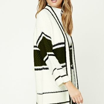 Striped Geo-Textured Cardigan