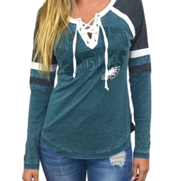 Philadelphia Eagles Womens Laceup Long Sleeve Top | SportyThreads.com