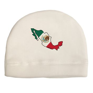 Mexico Outline - Mexican Flag Adult Fleece Beanie Cap Hat by TooLoud