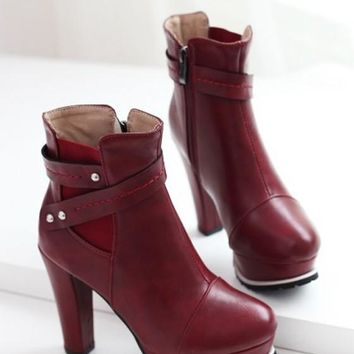 New Women Red Round Toe Chunky Add Feathers Fashion Ankle Boots
