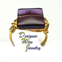 DWJ0317 Lovely Plum Frost Sea Glass Gold Wire Wrap Ring All Sizes