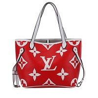 LV NEVERFULL 2019 new women's classic old flower shoulder bag handbag Messenger bag Red