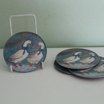 Set of 4 Vintage Winter Snow Goose Pattern Design Metal Coasters, Kitchen Decor, Table Decor, Drink Coasters, Cocktail Coasters, Shabby Chic