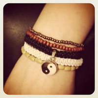 Indie Hippie Layered Yin Yang Hemp Cord and Bead Bracelet