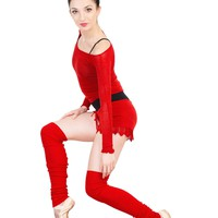 Knee High Leg Warmers, Boat Neck Top & Lace Drawstring Shorts Stretch Knit KrinkleSpun KD dance USA