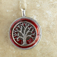 tree of life necklace: poppy red - wiccan pendant - celtic jewelry - tree jewelry - earthy jewelry - unique jewelry - spiritual jewelry