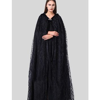 DCCKHY9 Top Quality Halloween Costumes For Women Priestess Witch Black Cloak Wraps Coats And Dresses Gothic Style Dark Secrets Women