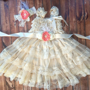 Flower girl dress, Vintage girl dress, coral baby dress, cream lace flower dress, birthday, ivory flower girl, baby dress, lace dress