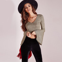 All-match Fashion Punk Wind Stripe V-Neck Long Sleeve Pagoda Sleeve T-shirt Crop Tops