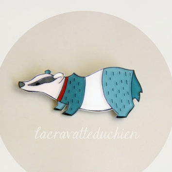 Badger brooch, woodland jewelry, illustrated acrylic