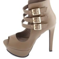 Triple-Belted Peep Toe Ankle Cuff Heels by Charlotte Russe - Taupe