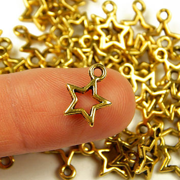 10 Pcs - 12x10mm Tiny Gold Tone Star Charms - Tiny Charms - Jewelry Supplies