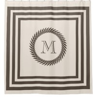 Neutral Biscotti and Cocoa Fancy Monogram Shower Curtain