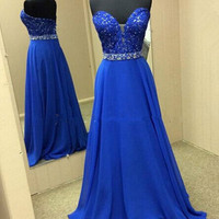 Sweetheart Beading Royal Blue Prom Dresses