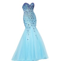 VILAVI Womens Mermaid Strapless Sweetheart Long Tulle Crystal Beading Prom Dress