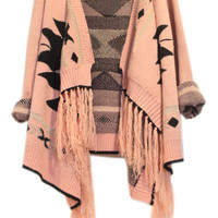 ROMWE | Tassel Embellished Geometric Pattern Pink Cardigan, The Latest Street Fashion