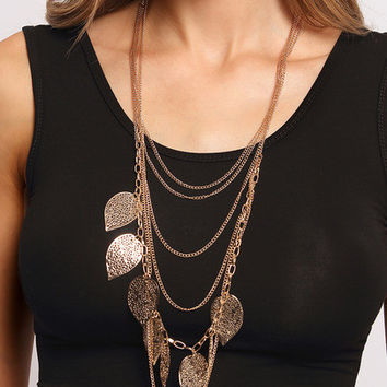 Hollow Out Leaves Wrap Link Necklace
