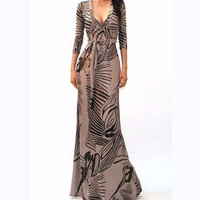 Shimmer Gold Stripes Maxi Cleavage Dress-Got Style-Black/Khaki