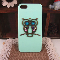 Big Eye Rhinestone Owl Handmade Case for iPhone 5