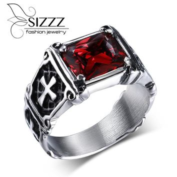 SIZZZ Big Red/Black Stone Rings for Men Rock Punk Ring Jewelry Birthday Gift