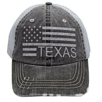 Sun Nowa Texas American Flag Glittering Distressed Trucker Style Cap Hat