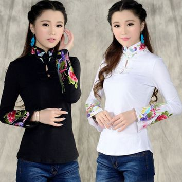 DCCKDZ2 Chinese style shirt women's 2016 autumn spring ethnic black white stand collar embroidered t-shirt female long-sleeve top blusa