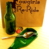 Glass Spoon Rest/Green Beer Bottle