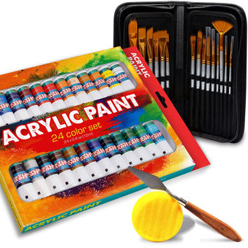Acrylic Paint Kit (24 Pieces)  Vibrant Colors with RICH PIGMENT -Quick Dry & Non Toxic  and 15 Brush Set PLUS BONUS Art Sponge and Paint Mix Knife  Perfect Gift Idea for Artists
