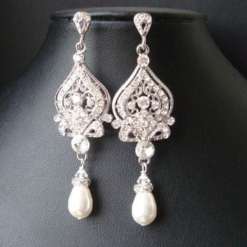 Vintage Inspired Wedding Bridal Earrings, Pearl and Rhinestone Chandelier Wedding Earrings, Hollywood Glamour Bridal Jewelry, JACQUELINE