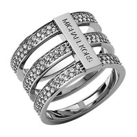 Michael Kors Silver Tone and Crystal Tiered Ring