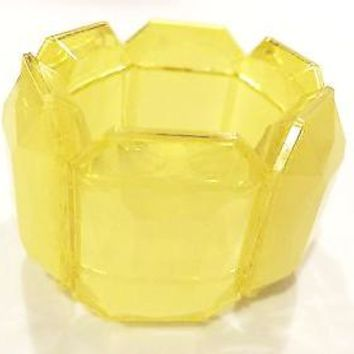 Yellow Plastic Cuff Citric Translucent Beads Expandable Bracelet Vintage Jewelry