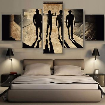 Working man men tunnel shadows 5 panel wall art on canvas print picture framed unframed