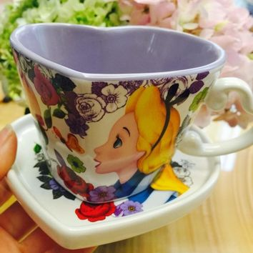 3a585a3dc Cute Alice In Wonderland Cartoon Ceremic Coffee Mug Cup With Sna