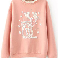 Pink Lace Bead Deer Pattern Long Sleeve Sweatshirt
