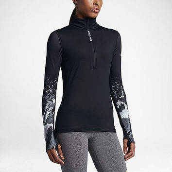 The Nike Pro HyperWarm Half-Zip Women's Long Sleeve Training Top.