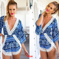 Blue Print Long Sleeve Romper
