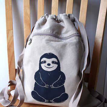 Sloth Backpack Canvas Screen Printed