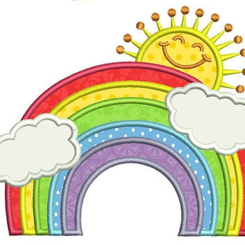 Rainbow applique machine embroidery design. Sun applique with rainbow and clouds. Two sizes. Happy rainbow embroidery.