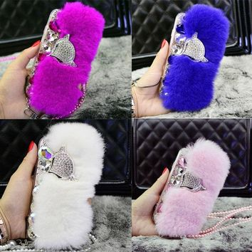 Luxury Real Rex Rabbit Fur Bling Diamond Phone Case for iPhone 4 4s 5 5s SE 6 6s 7 8 Plus X Glitter Rhinestone Crystal Cover